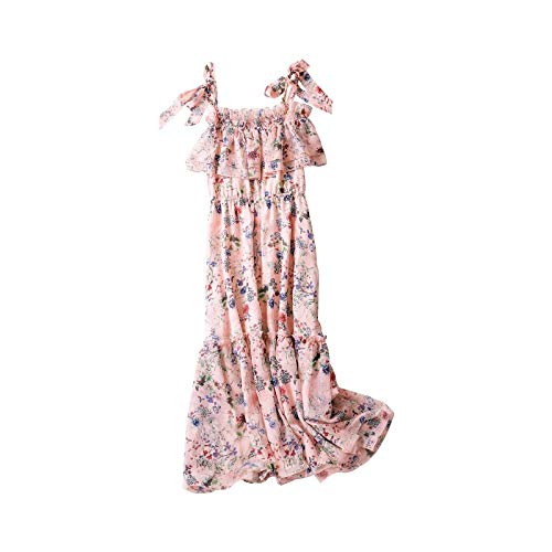 Dabuwawa Women Floral Print Chiffon Midi Dress Summer Ruffles Off Shoulder Beach Dress Pink from Dabuwawa