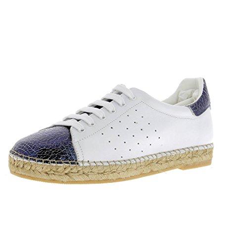 Andrew Stevens Women's Terra Made in Spain Leather Espadrille Sneaker (39, White/Cracked Blue)