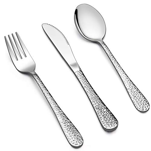 LIANYU 12-Piece Kids Utensils Silverware Set, Stainless Steel Toddler Hammered Flatware Cutlery, Children Tableware Includes Knives Forks Spoons, Dishwasher Safe