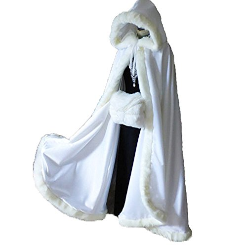 Ivory Long Wedding Cloak with Hooded Cape Winter