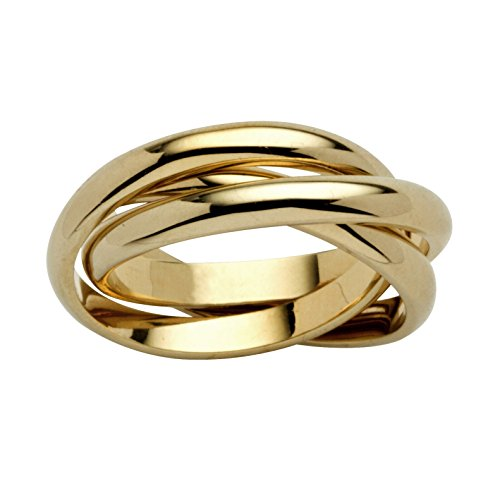 Seta Jewelry 14K Yellow Gold-Plated Rolling Triple Band Crossover Ring