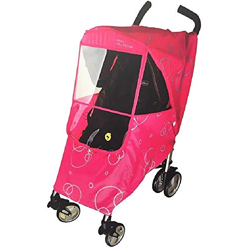 - Hippo Collection Universal Stroller Weather Shield with Bubble - Pink
