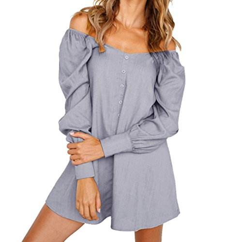 Sexy Bouton Guesspower 36 Robe Femme Mini XXL 44 paule Longues Dames Lache S Hors Gris Ete Manches Robe Court Chic qBIRBw