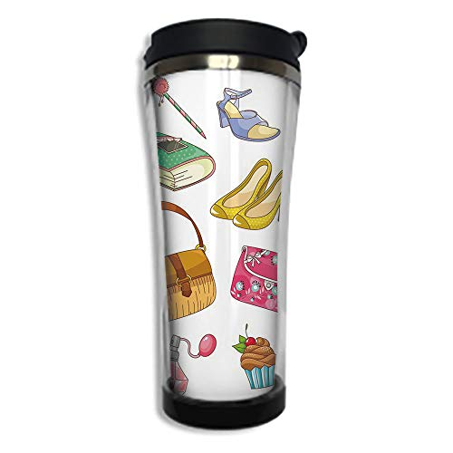 Customizable Travel Photo Mug with Lid - 8.45 OZ(250 ml)Stainless Steel Travel Tumbler, Makes a Great Gift by,Heels and Dresses,Fashionable Girlish Items Cartoon Style Cosmetics Boots Cupcakes Lipsti