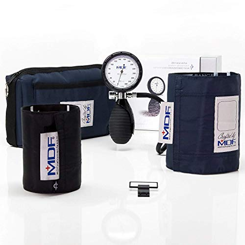 MDF® Bravata® Palm Aneroid Sphygmomanometer - Blood Pressure Monitor with Adult & Pediatric Sized Cuffs Included - Full Lifetime Warranty & Free-Parts-For-Life - Navy Blue (MDF848XPD-04)