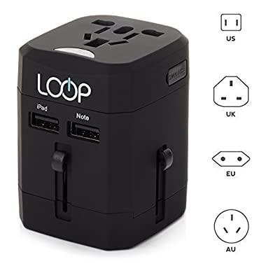 Worldwide Travel Adapter, LOOP® BEST International Plug [US UK EU AU] with Dual USB Charging Ports & Universal AC Socket, Safety Fused (Black)