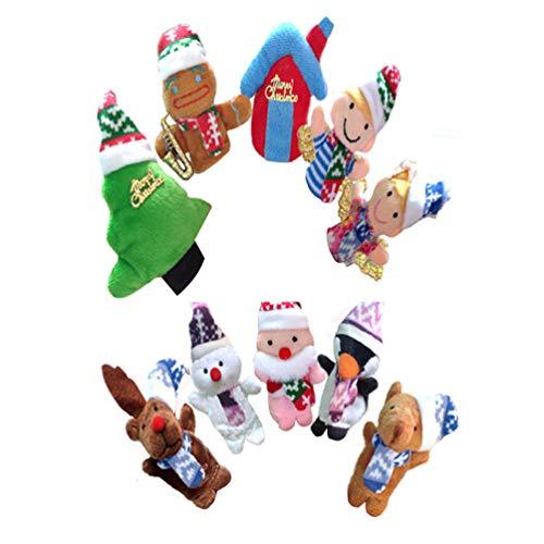 [해외]NUOBESTY 10pcs Christmas Finger Puppets Hand Finger Dolls Toys Santa Claus Deers Snowman Tree House Holiday Xmas Gift Toy for Children Kids Toddlers / NUOBESTY 10pcs Christmas Finger Puppets Hand Finger Dolls Toys Santa Claus Deers...