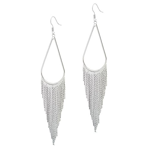 SELOVO Extra Long Tassel Dangle Earrings Boho Bohemian Fringe Earrings Silver - Earrings Metal Chain
