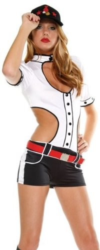 [Baseball Cutie Sexy Costume by Forplay White S/M] (Womens Baseball Costumes)