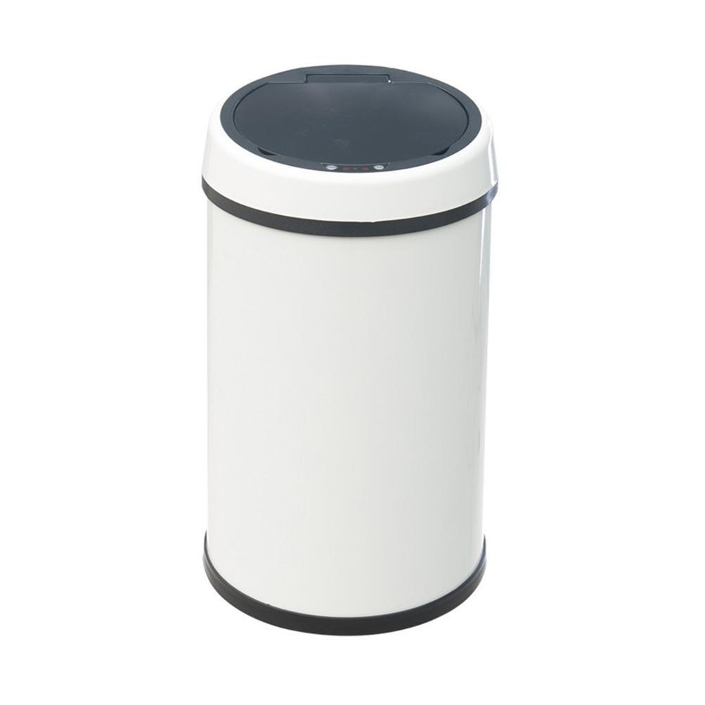 OOLM Rechagrable Lata de basura automática del acero acero del inoxidable del sensor, cuerpo blanco, Blanco, 9l 250250350mm acd327