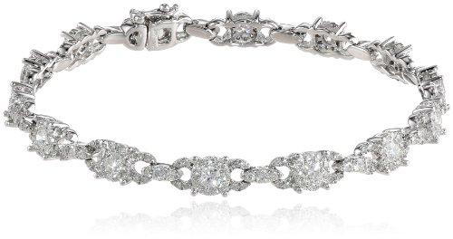 14k-White-Gold-Cluster-Diamond-Bracelet-295-cttw-H-I-I1-I2-7-14