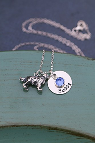 Personalized Dog Necklace - ROI - Handstamped New Puppy Sterling Silver 3D Charm - Custom Girls Name Cute Little Pet Gift - 5/8 Inch Disc - Ships in 1 Business Day