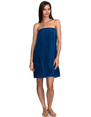 TowelSelections Women's Wrap, Shower & Bath, Terry Spa Towel X-Small Monaco Blue