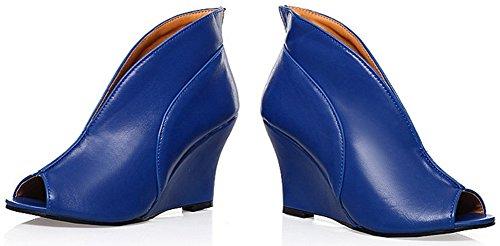 Idifu Womens Sexy Peep Toe Hoge Hakken Pumps Schoenen Wedge Gladiator Sandalen Blauw