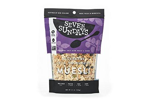 Seven Sundays Gluten Free Muesli - Wild & Free Blueberry Chia {12 oz. pouches, 1 Count} - Non GMO, GF Certified, No Refined Sugar, Kosher