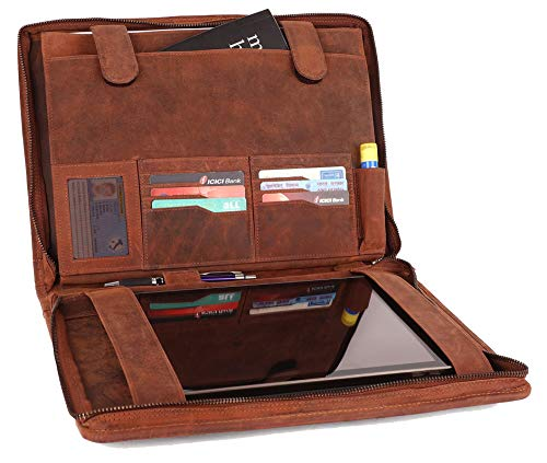 Supreme Business Portfolio by Rustic Town | Professional Organizer for Men & Women | Durable Leather Padfolio | Easy to Carry with A Zippered Closure | Many Slots, Compartments & Holders ()