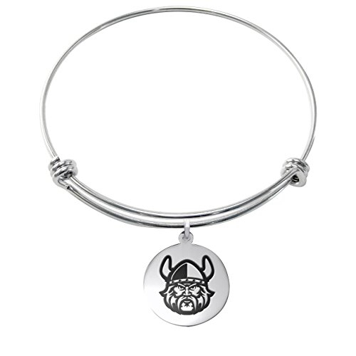 Cleveland State Vikings Stainless Steel Adjustable Bangle Bracelet with 17mm Round - Steel Cleveland Stainless Bracelets
