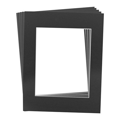 Golden State Art Pack of 5, 16x20 Black Picture Mats Mattes with White Core Bevel Cut for 11x14 Photo + Backing + Bags (Board Archival Surface Backing)