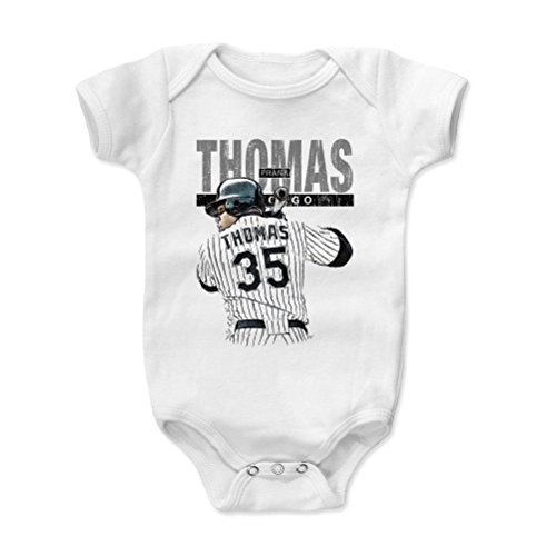 Onesie Chicago Sox White (500 LEVEL Frank Thomas Baby Clothes, Onesie, Creeper, Bodysuit 12-18 Months White - Vintage Chicago Baseball Baby Clothes - Frank Thomas Sketch K)