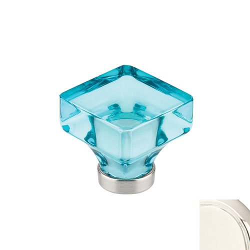 Emtek 86552 Lido Series 1-3/8 Inch Long Cyan Crystal Square Cabinet Knob, Polished Nickel