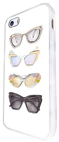 1046 - Cool Fun Cute Sunglasses Illustration Art Designer Fashion Love Shopping Ladies Girls Design iphone SE - 2016 Coque Fashion Trend Case Coque Protection Cover plastique et métal - Blanc