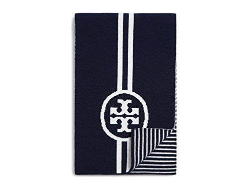 Tory Burch Women's Reversible Striped Black Scarf by Tory Burch