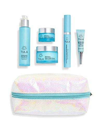 Tula Mini - TULA Probiotic Skin Care Ultimate Indulgence Set - Travel-friendly Kit with Day & Night Cream, Eye Serum, Illuminating Serum, & Mini Eye Serum and Day Cream for Hydrated and Youthful Skin