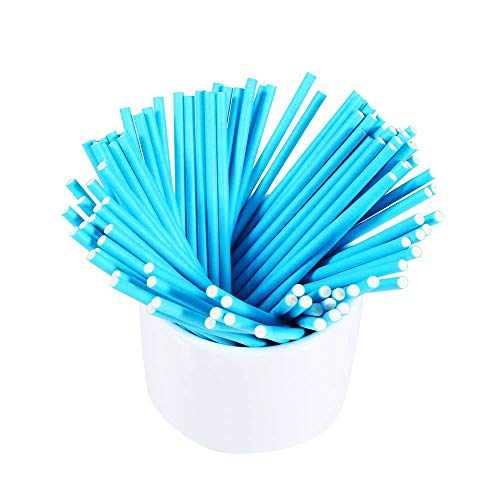 Price comparison product image WSERE 100 Pieces Colorful Lollipop Sticks Chocolate Hard Candy Stick,  Food Grade Safe and 5 Attractive Colors Match All Kinds of Party Theme,  Blue