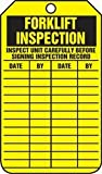 Accuform TRS305CTP Forklift Status Tag, Legend''FORKLIFT INSPECTION (CHECKLIST)/FORKLIFT INSPECTION RECORD'', 5.75'' Length x 3.25'' Width x 0.010'' Thickness, PF-Cardstock, Black on Yellow (Pack of 25)