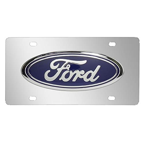 iPick Image Ford Large Logo Chrome Steel License Plate