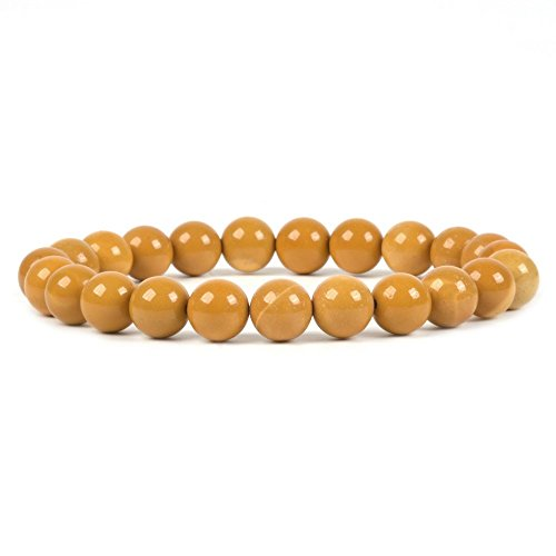 - Natural Yellow Mookaite Jasper Gemstone 8mm Round Beads Stretch Bracelet 7
