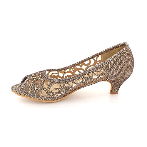 Heel Diamante Party Evening Aarz Size Champagne Shoes Low Peep Wedding Black Sandel Kitten Women Silver Ladies Toe Gold Brown v4vqtw0x