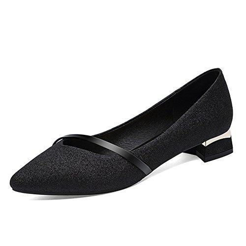 La Mode Pointu Les Simples Profonde Chaussures Black Mi talon Bouche De Travail Peu Femmes Sequin Des Ont OfqnCYw