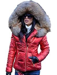 Women Winter Fox Faux Fur Shiny Black Down Parka Hooded Slim Jacket Coat TOP
