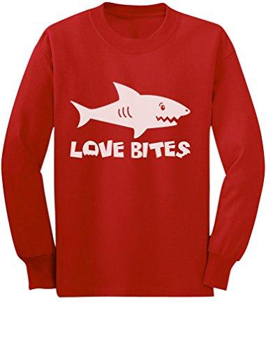 Love Bites Funny Toddler/Kids Long Sleeve T-Shirt 5/6 Red