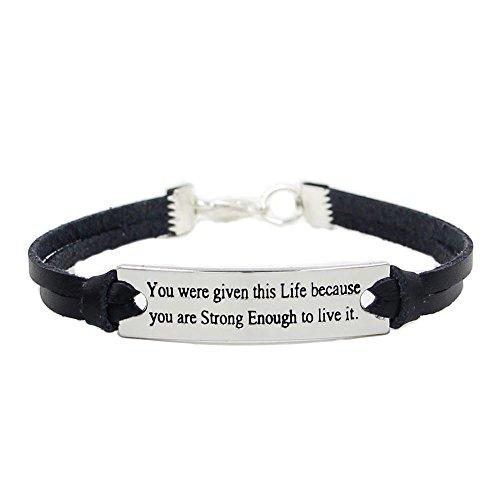 Fheaven Men Wide Leather Wristband Bracelet Inspirational Crossfit Sport Outdoor