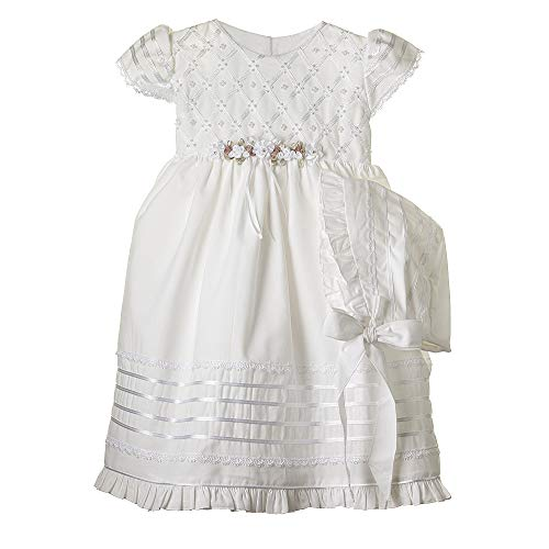 Details and Traditions Dainty Guipure Dress, MIR-003 Girls Cotton Baptism Dress, Christening, Baptism Cotton Dress, Christening Dress, Baby Dress, Catholic Dress (3mo, Soft White)