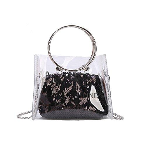 YLiansong Negro Uso Dual Mujer Dama Mini Bolsa de Verano de la Personalidad del Bolso de la Cadena del Bolso Transparente Messenger Jelly Pack Borsa Borsetta