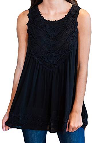POGTMM Women's Summer Casual Sleeveless Lace Tops Lace Trim Tunic Tops Chiffon Blouses (M(8-10), Z-Black)