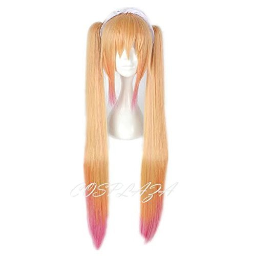 COSPLAZA Long Straight Orange Pink Mixed Girls Cosplay Wig Anime Hair with Pony (Without Headband) (Lavender Rubies Costume)