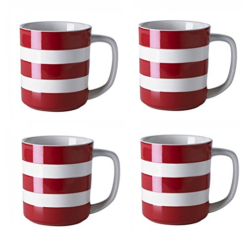 Cornishware Red and White Stripe Set of 4 Coffee Cups Mugs, 10oz