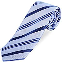 Lanartisan Men's Mulberry Silk Striped Ties, Luxe Jacquard Fabric Neckties for Business, Interview, Casual Occasions (Yarn-Dyed)