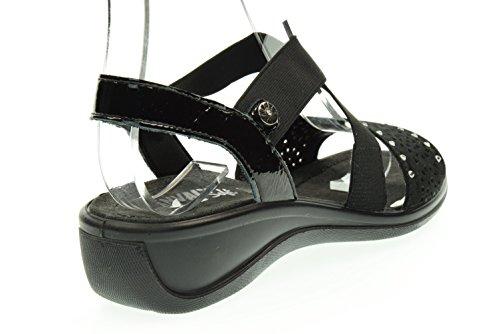 ENVAL 59610 sandalias negras de diamantes de imitación mujeres flexible suave suela de goma Nero