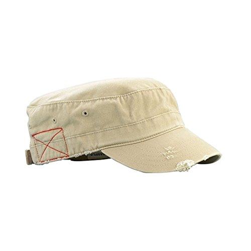 Mega Cap Cotton Distressed Washed Cadet Cap (Khaki)