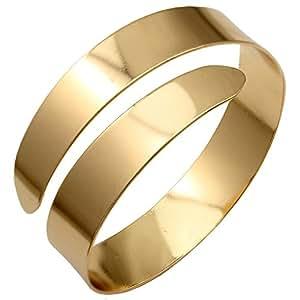"Gold Plated Q&Q Fashion Egypt Cleopatra Swirl Snake Upper Arm Cuff Armlet Armband Bangle Bracelet, dia.3"",Slightly Adjustable"