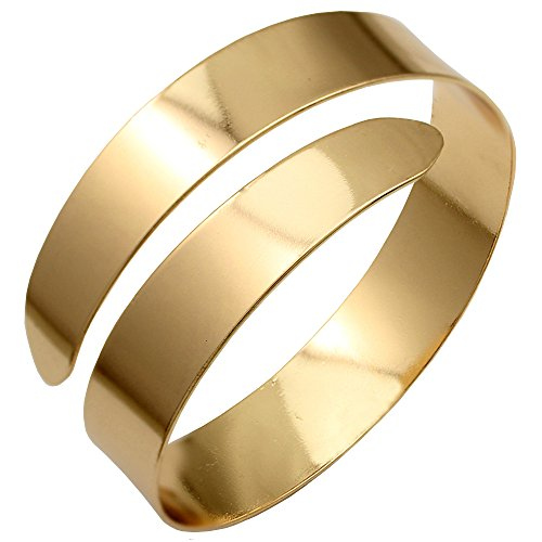 Q&Q Fashion Gold Plated Egypt Cleopatra Swirl Snake Upper Arm Cuff Armlet Armband Bangle Bracelet (Jewelry Arm)
