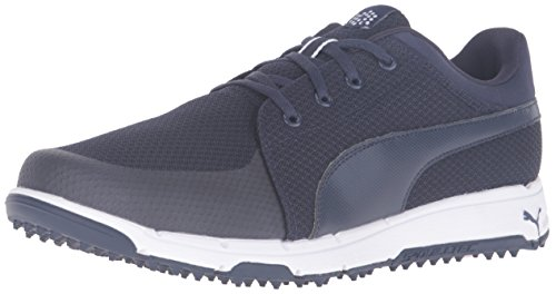 PUMA Men's Grip Sport Golf Shoe, Peacoat/White, 10 Medium