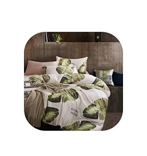 - TT Lemon 22Colors Luxury Cotton Bohemia Bedding Set Queen King Size 3D Flower Leaf Print Duvet Cover Bed Sheet Set Pillowcase,Color 4,King Size 4Pcs