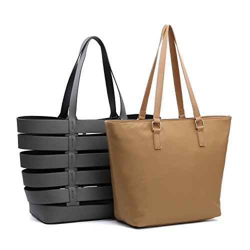 2PCS Women Handbags Vegan Leather Large Carry All Shoulder Tote Bags Work Purses With Oxford Nylon Tote (Oxford Collection Grey)