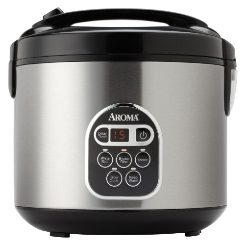 Aroma Housewares 20 Cup Cooked (10 cup uncooked) Digital Rice Cooker, Slow Cooker, Food Steamer, SS Exterior (ARC-150SB) (Professional Crock Pot compare prices)